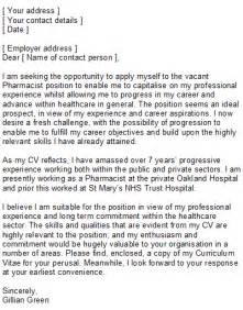 cover letter for a pharmacist sle pharmacist covering letter