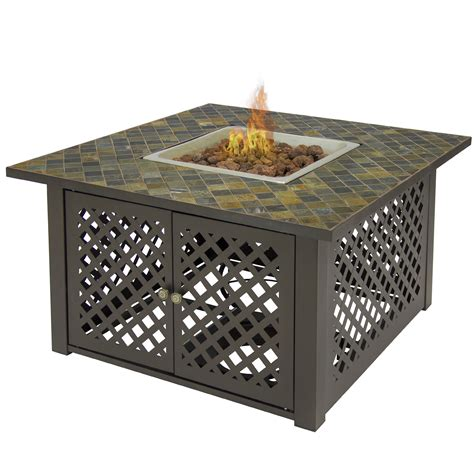 Gas Outdoor Fire Pit Table Firebowl W Cover Slate Marble Outdoor Firepit Cover