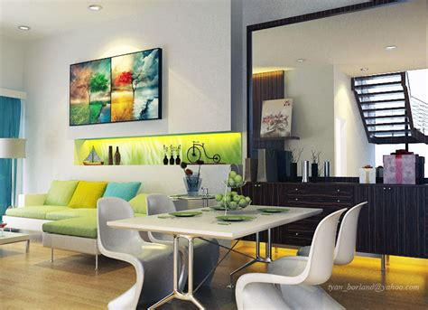 bright color lime green white living dining room ideas