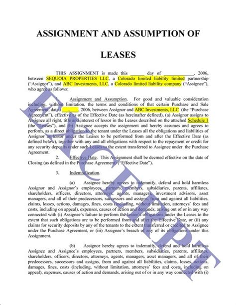 Lease Assignment Letter Assignment And Assumption Of Lease Is With Schedules Realcreforms