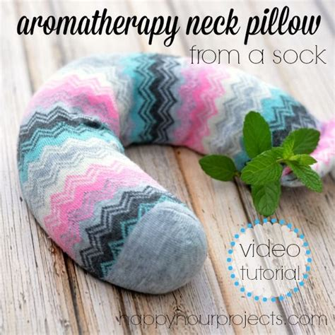 diy aromatherapy neck pillow made from a sock