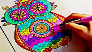 colored time sharpie color time owl mandala part 2