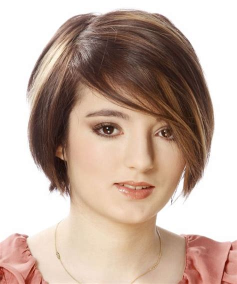 hairstyles with light bangs short straight casual bob hairstyle with side swept bangs light brunette hair color layered