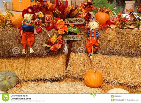 scarecrow decorations fall fall decorations stock photo image 60880849