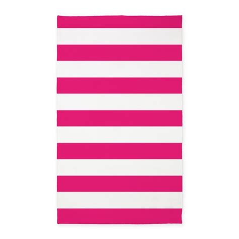 Design My Own Bathroom hot pink and white stripes 3 x5 area rug by inspirationzstore