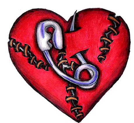 stitched heart tattoo designs safty pin stitch design by emjaybrady