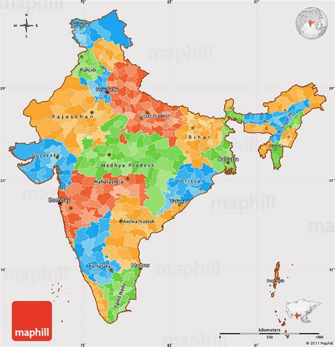 simple map political simple map of india cropped outside