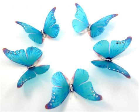 50 sky blue stick on butterflies wedding cake toppers
