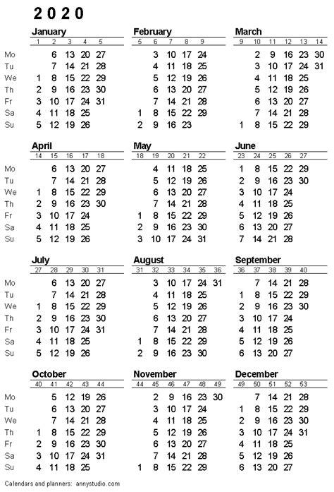 printable calendar  monday week start iso week numbers single page black  whit