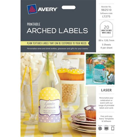printable labels officeworks labels printable arched white 20 pk catering supplies