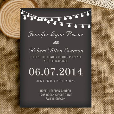 affordable string lights chalkboard wedding invitations