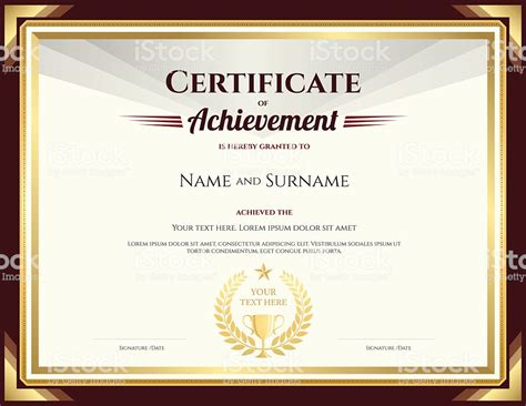 Free Vector Certificate Templates by Certificate Of Achievement Template With Vintage