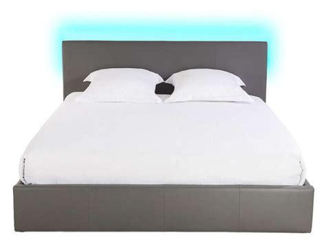 lit coffre 180x200 cm avec led steva light coloris gris