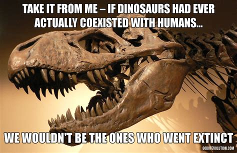 Dino Memes - a meme about dinosaurs eating people god of evolution