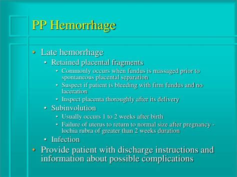 c section discharge instructions ppt postpartum complications powerpoint presentation