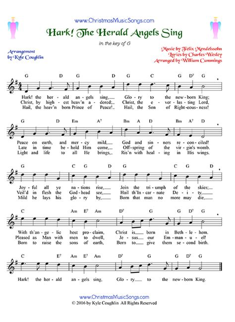 printable lyrics hark the herald angels sing hark the herald angels sing free sheet music