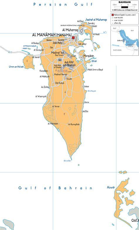 bahrain map with cities political map of bahrain ezilon maps