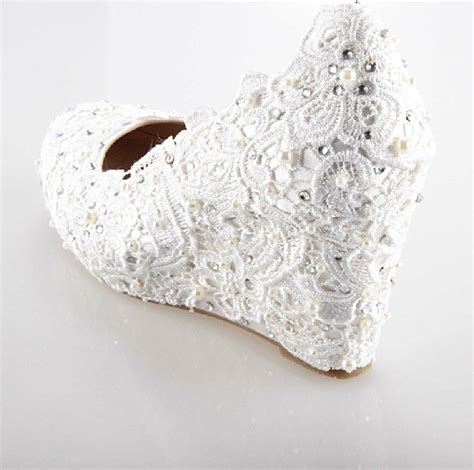 beaded wedding wedges beaded low heel wedding shoes white lace wedges for