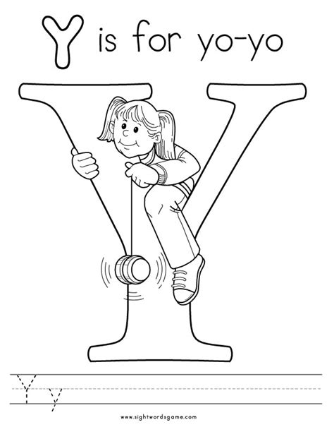 Letter Y Coloring Page free coloring pages of y is for yo yo