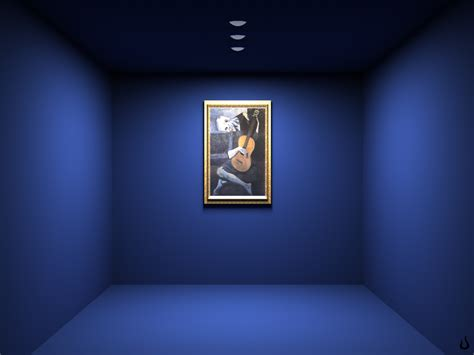 3d room painting in the blue room desktop wallpaper pictures