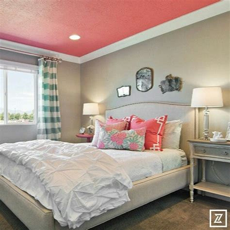 Bedroom Ideas Edgy Tween Bedroom With A Pop Of Coral Painted