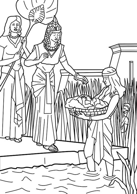 coloring pages for baby moses in the river baby moses bible coloring pages and daughters on pinterest