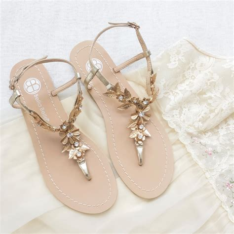 Wedding Sandals by Bohemian Wedding Sandals Shoes With Gold Brass Leaves And