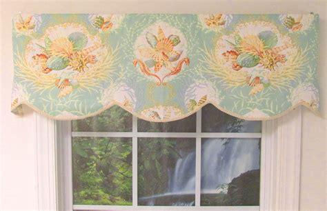 seashell curtains valances seaworthy seashell pattern cornice valance