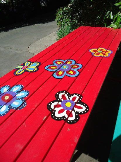 cool painted picnic tables the 25 best picnic table paint ideas on pinterest