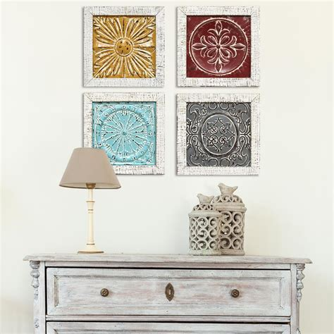 Home Depot Wall Decor by Stratton Home Decor Accent Metal Tile Wall Set Of 4