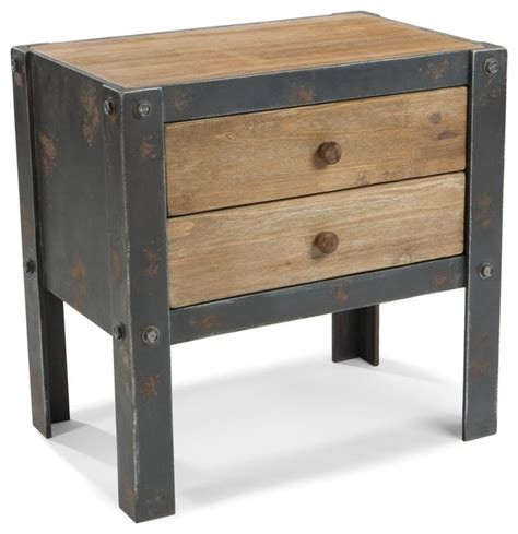 industrial bedside table renart 2 drawer side table industrial nightstands and