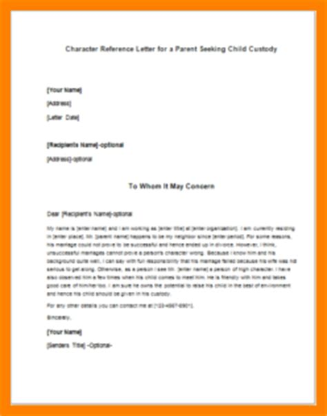 Reference Letter Template Child Custody 4 Character Reference Letter For Child Custody