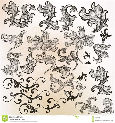 vintage design elements vector set 23 collection of vector swirls in vintage style royalty free