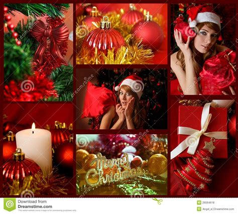 themes relating to time red collage of christmas related theme stock photo image