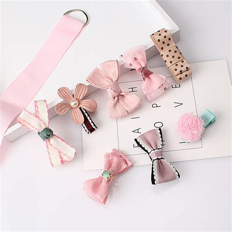 m mism 1lot 8pcs ribbon handmade flower hairpins hair