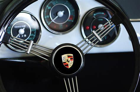 porsche wheel emblem 1956 porsche steering wheel emblem photograph by reger