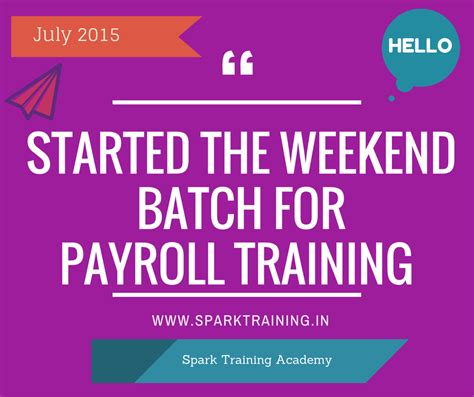 Week End Mba Courses Chennai by Started Payroll Weekend Batch For July 2015