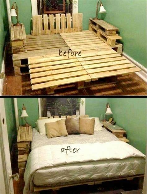 bed frame out of pallets recycled wood pallet bed ideas pallet wood projects