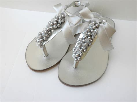 sandals for wedding silver wedding sandals bridal silver pealrs