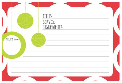 printable christmas recipe cards 6 best images of printable holiday recipe card template