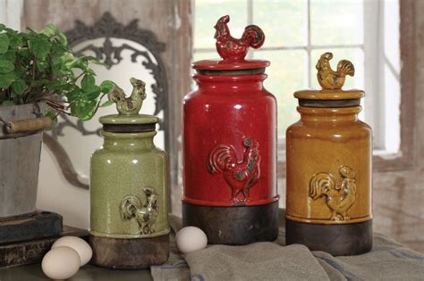 new 3pc kitchen storage rooster canisters rustic vintage