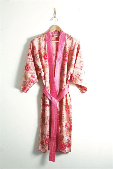 dressing gown cotton kimono dressing gown floral print by caro