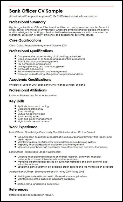 resume format for bank pdf bank officer cv sle myperfectcv