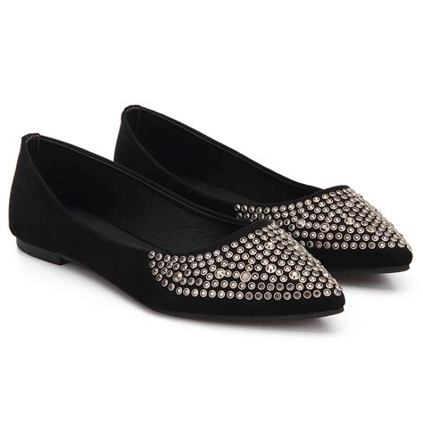 shoes with flat heels black studded suede flat shoes us 27 95 yoins