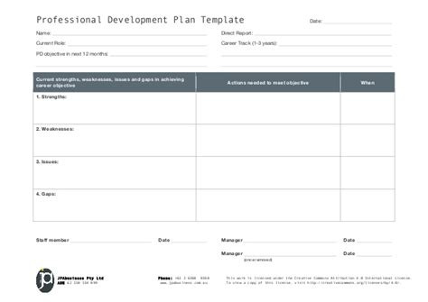 employee professional development plan template jpabusiness professional development plan template