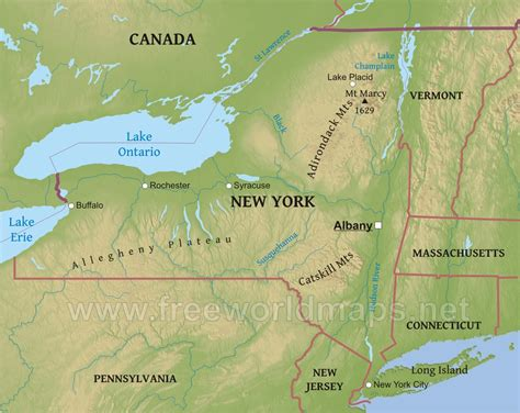 map of the us new york physical map of new york