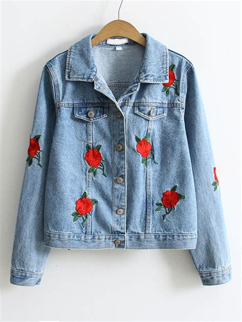 Flower Embroidery Jacket by Blue Flower Embroidery Single Breasted Denim Jacketfor