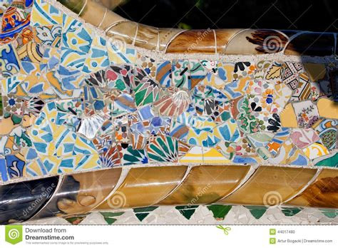 Barcelona Bench by Trencadis Mosaic At Gaudi Park Guell In Barcelona Stock