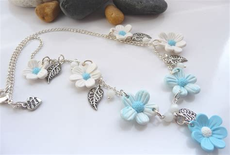 how to make jewelry with polymer clay blue white polymer clay flower necklace by p