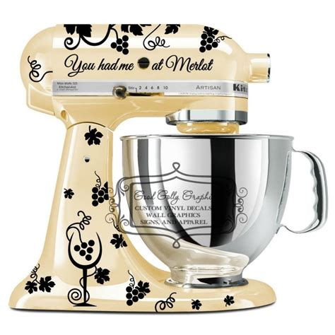 Kitchen mixer vinyl decal set Wine inspired Kitchenaid